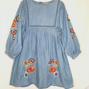 Zara Girls Embroidered Puff Sleeves Denim Dress